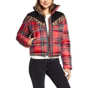 NVLT Water Resistant Puffer Jacket tartan plaid XL